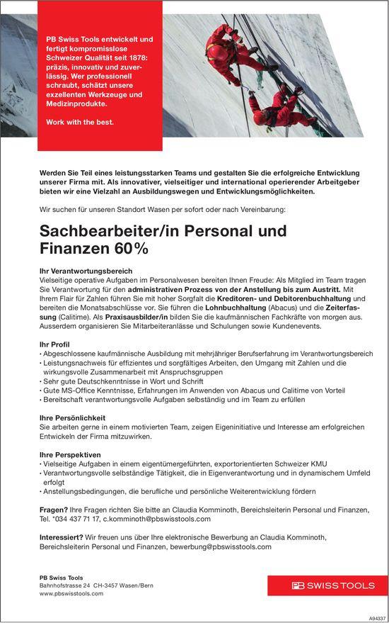 Sachbearbeiter/in Personal und Finanzen 60%, PB Swiss Tools, Wasen/Bern, gesucht