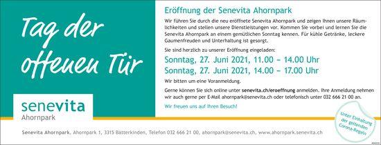 Tag der offenen Tür: Eröffnung der Senevita Ahornpark, 27. Juni, Bätterkinden