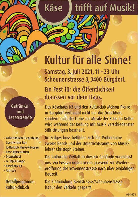Käse trifft auf Musil! Kultur für alle Sinne!, 3. Juli, Burgdorf