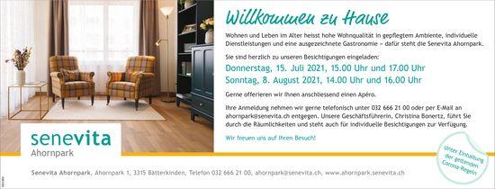 Senevita Ahornpark - Willkommen zu Hause, Besichtigung 15. Juli + 8. August, Bätterkinden