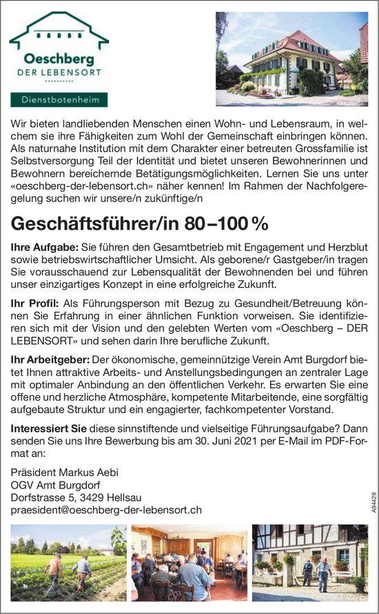 Geschäftsführer/in 80 –100 %, OGV Amt Burgdorf, Hellsau, gesucht