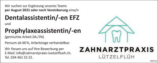 Dentalassistentin/-en EFZ und Prophylaxeassistentin/-en (gemischte Arbeit DA /PA), Zahnarztpraxis, Lützelflüh, gesucht