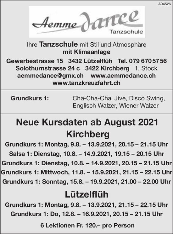 Aemme Dance Tanzschule - Neue Kursdaten ab August 2021 Kirchberg und Lützelflüh