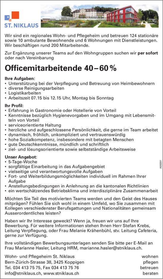 Officemitarbeitende 40 – 60 %, Wohn- und Pflegeheim St. Niklaus, Koppigen, gesucht