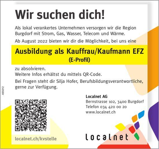 Ausbildung als Kauffrau/Kaufmann Efz (E-Erofil), Localnet AG, Burgdorf, zu vergeben