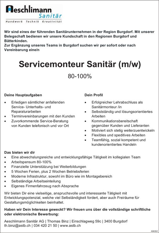 Servicemonteur Sanitär (m/w) 80-100%, Aeschlimann Sanitär AG, Burgdorf, gesucht
