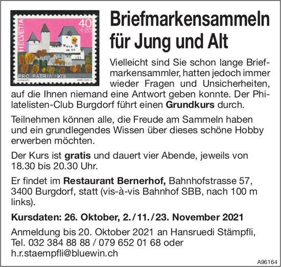 Briefmarkensammeln für Jung und Alt, 26. Oktober, 2./11./23. November, Burgdorf
