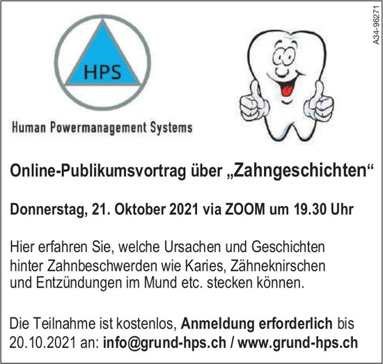 """HPS - Online-Publikumsvortrag über """"Zahngeschichten"""", 21. Oktober"""