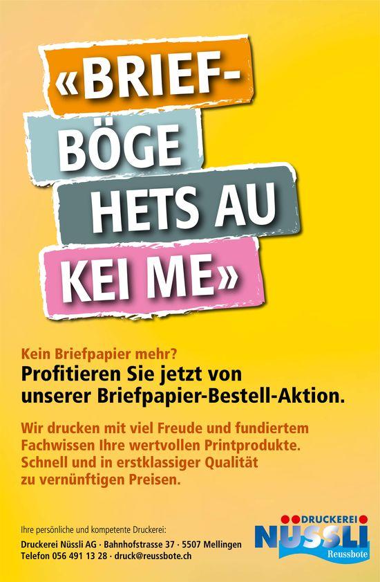 "Druckerei Nüssli AG, Mellingen - ""BRIEFBÖGE HETS AU KEI ME"""