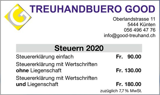 TREUHANDBUERO GOOD - Steuern 2020