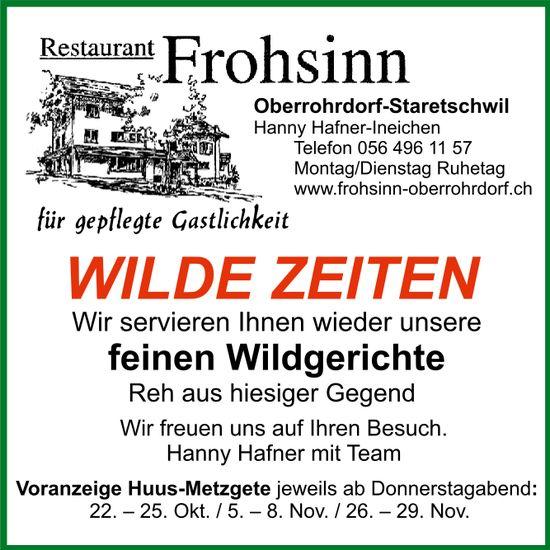 Huus-Metzgete, 22. Oktober bis 29. November, Restaurant Frohsinn, Oberrohrdorf-Staretschwil