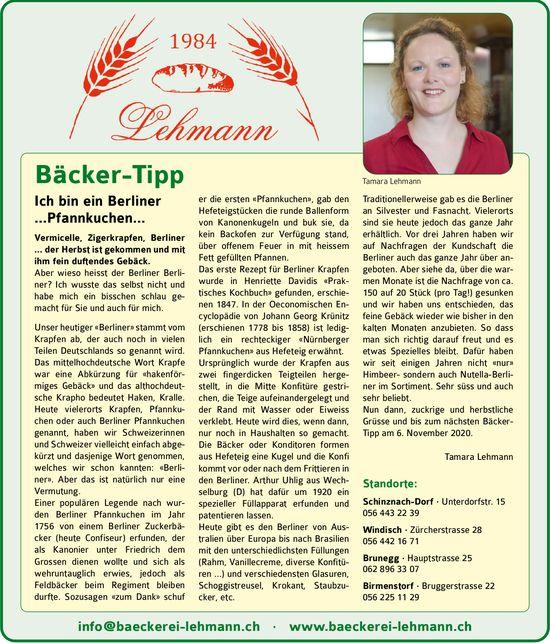 Bäckerei Lehmann, Schinznach-Dorf - Bäcker-Tipp