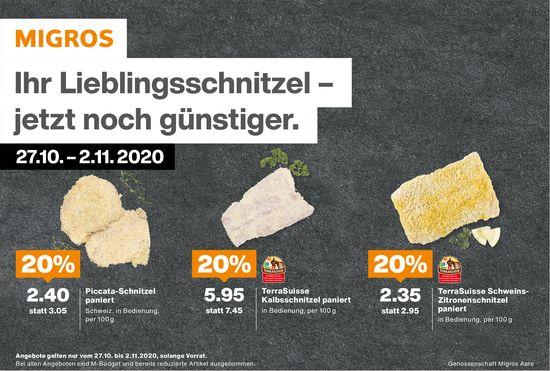 Ihr Lieblingsschnitzel – jetzt noch günstiger., 27. Oktober bis 2. November, MIGROS