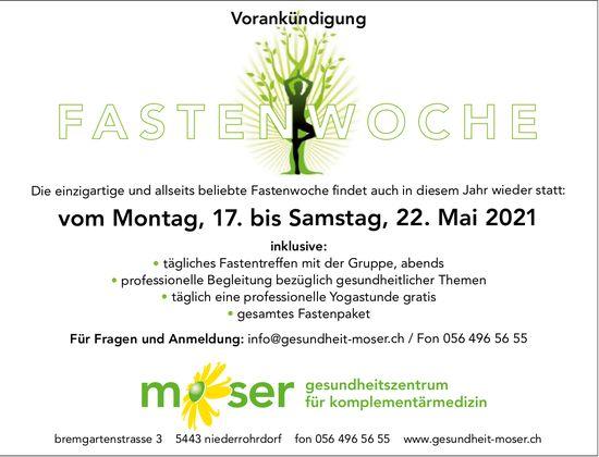 Fastenwoche, 17. bis 22. Mai, Moser Gesundheitszentrum für Komplementärmedizin, Niederrohrdorf