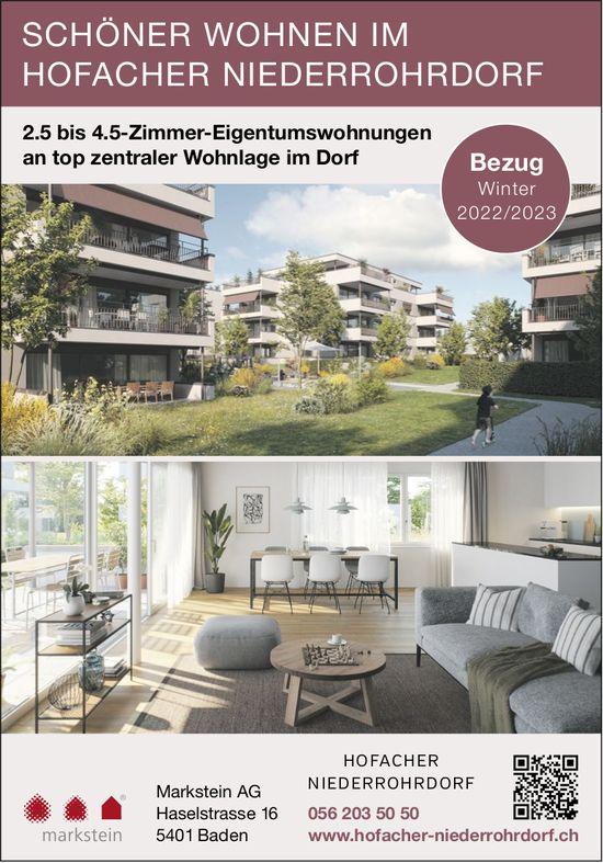 2½ bis 4½ Zimmer-Wohnungen, Niederrohrdorf, zu verkaufen