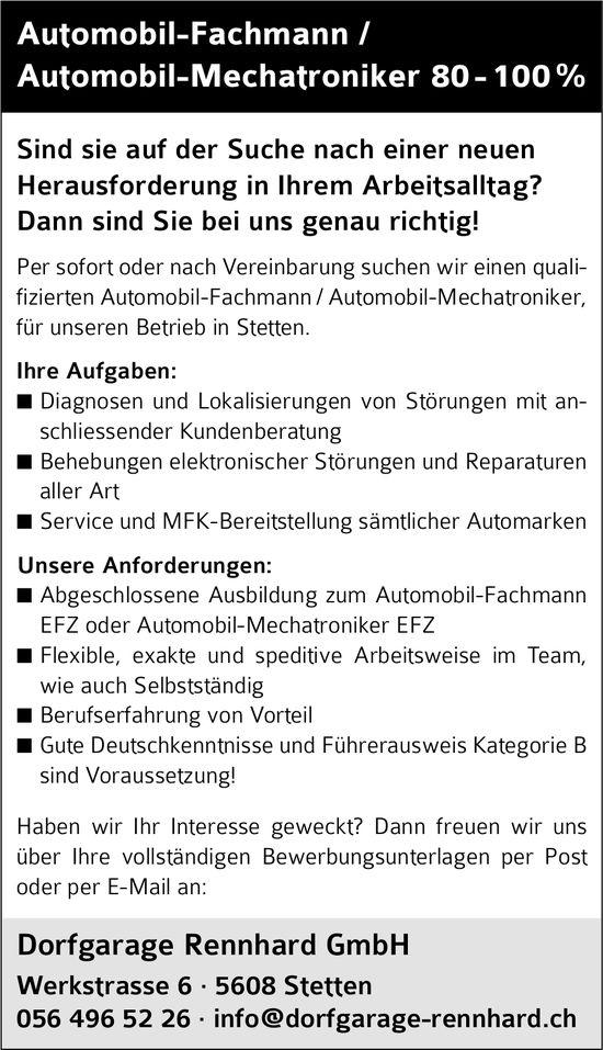 Automobil-Fachmann / Automobil-Mechatroniker 80 - 100 %, Dorfgarage Rennhard GmbH, Stetten, gesucht