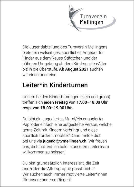 Leiter*in Kinderturnen, Turnverein Mellingen, gesucht