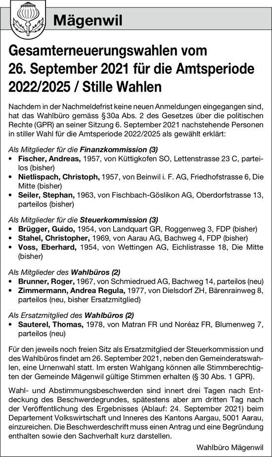 Mägenwil - Gesamterneuerungswahlen