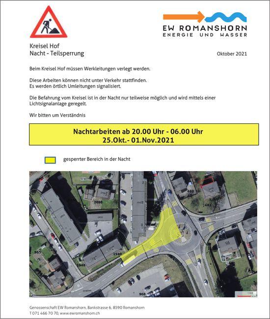EW Romanshorn Energie Und Wasser, Nachtarbeiten ab 20.00 Uhr - 06.00 Uhr 25.Okt.- 01.Nov.2021