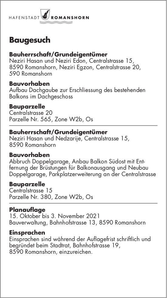 Baugesuche vom 15. Oktober, Romanshorn - Bauherrschaft/Grundeigentümer