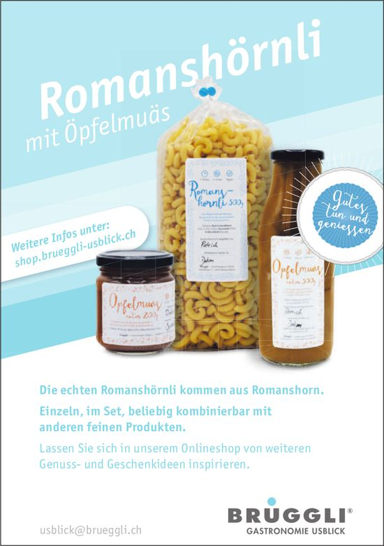 BRÜGGLI Gastronomie Usblick, Romanshorn - Romanshörnli mit Öpfelmuäs