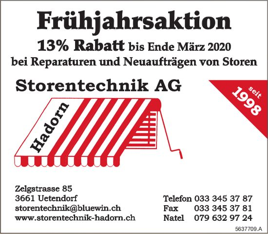 Hadorn Storentechnik AG, Uetendorf - Frühjahrsaktion 13% Rabatt