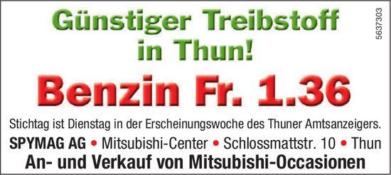 SPYMAG AG - Günstiger Treibstoff in Thun! Benzin Fr. 1.36