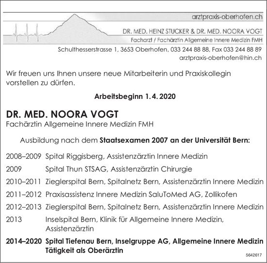 Arztpraxis Oberhofen,  Oberhofen-DR. MED. NOORA VOGT, neue Mitarbeiterin und Praxiskollegin
