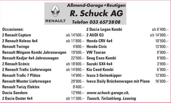 Allmend-Garage R. Schuck AG, Occasionenmarkt