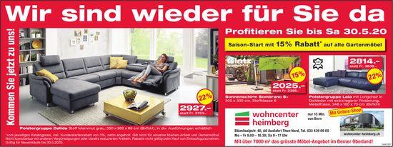 Wohncenter Heimberg - Wir sind wieder für Sie da: Profitieren Sie bis Sa 30.5.20