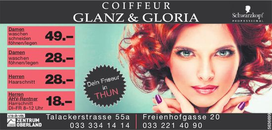 COIFFEUR Glanz & Gloria - Dein Friseur in Thun