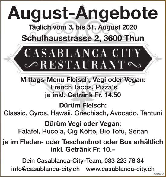 Casablanca-City Restaurant, Thun - August-Angebote