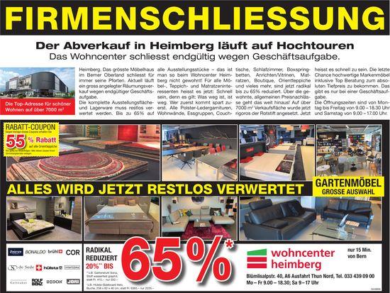 Wohncenter Heimberg - Firmenschliessung