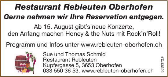 Restaurant Rebleuten Oberhofen - Ab 15. Aug. gibt's neue Konzerte, Honey & the Nuts mit Rock'n'Roll!