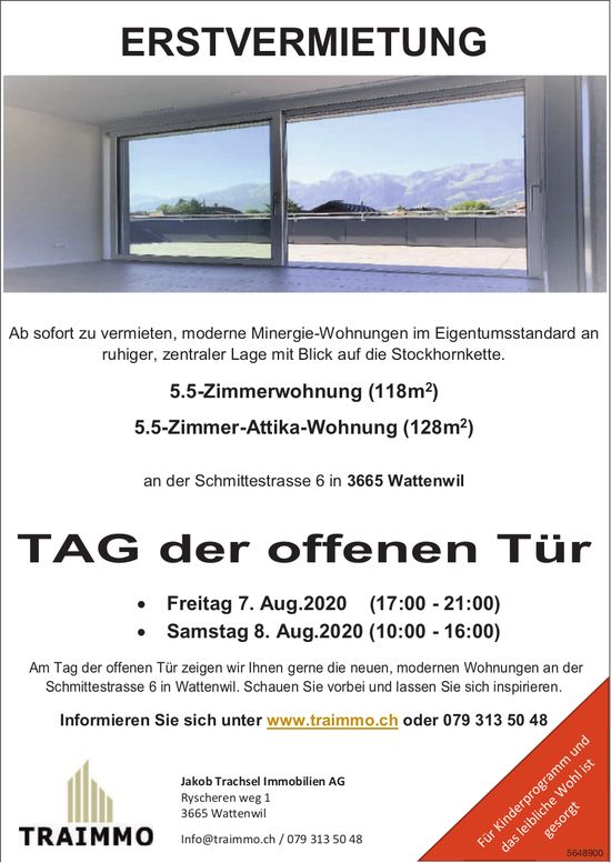 Erstvermietung 5.5-Zi.-Whg: Tag der offenen Tür 7./8. Aug., Jakob Trachsel Immobilien AG, Wattenwil