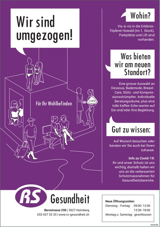 RS Gesundheit, Heimberg - Wir sind umgezogen!