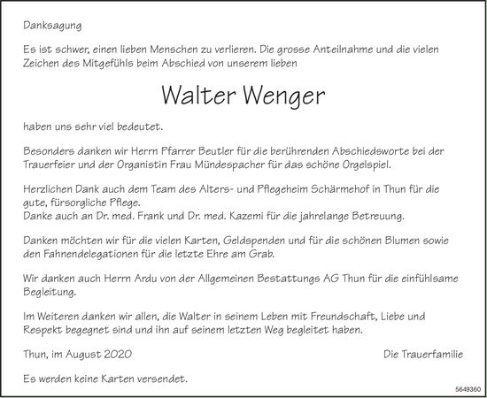 Wenger Walter, im August 2020 / DS