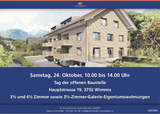 Tag der offenen Baustelle, 24. Oktober, Wimmis / 3½ und 4½ Zimmer sowie 3½-Zimmer-Galerie-Eigentumswohnungen