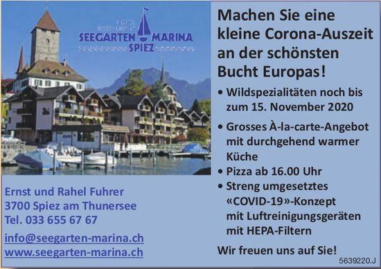 Seegarten Marina - Machen Sie eine kleine Corona-Auszeit an der schönsten Bucht Europas!, 15. November, Spiez