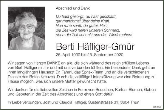Häfliger-Gmür Berti, im Oktober 2020 / TA + DS