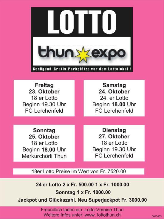 LOTTO Thun Expo, 23./24./25./27. Oktober
