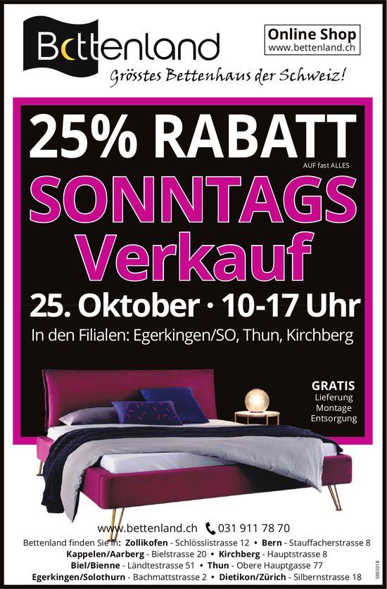 Sonntags-Verkauf, 25% Rabatt, 25. Oktober, Egerkingen/SO, Thun, Kirchberg