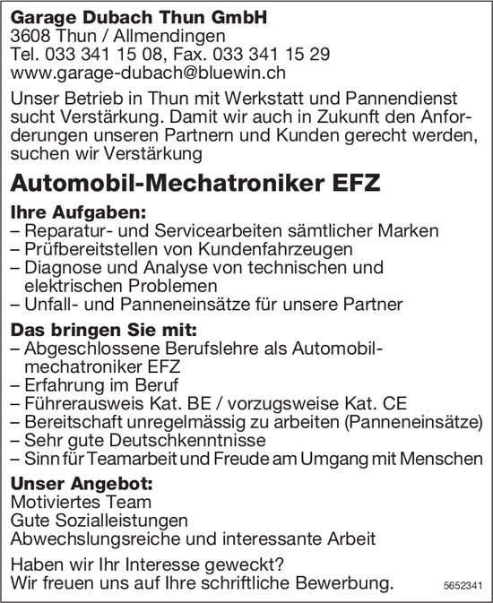 Automobil-Mechatroniker EFZ, Garage Dubach Thun GmbH, Thun/Allmendingen, gesucht