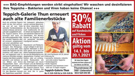 30% Rabatt auf Handwäsche und Flicken, bis 20. Januar, Teppich-Galerie Thun, Uetendorf