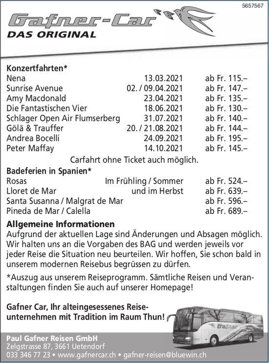 Paul Gafner Reisen GmbH - Programm & Events