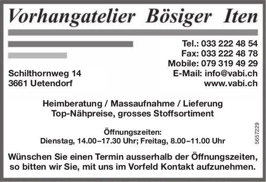 Vorhangatelier Bösiger Iten, Uetendorf - Heimberatung/Massaufnahme/Lieferung