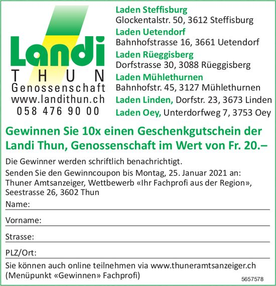 Landi Thun, Gewinnen Sie 10x einen Geschenkgutschein der Landi Thun, Genossenschaft im Wert von Fr. 20.–