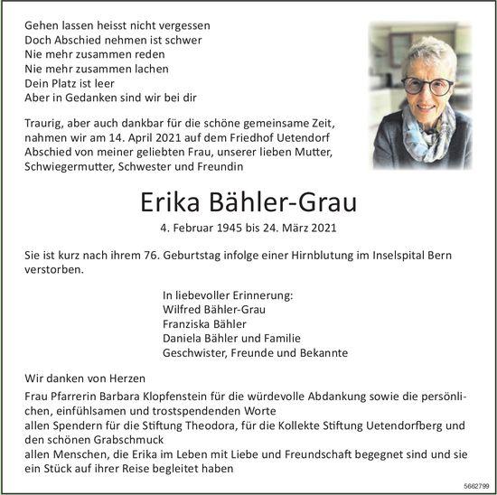 Bähler-Grau Erika, März 2021 / TA