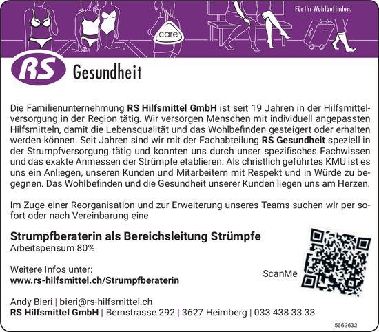 Strumpfberaterin als Bereichsleitung Strümpfe, RS Hilfsmittel GmbH, Heimberg, gesucht