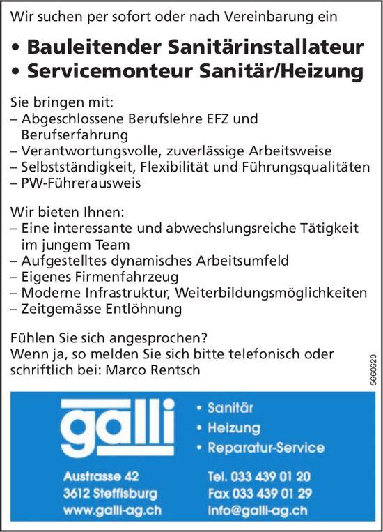 Bauleitender Sanitärinstallateur & Servicemonteur Sanitär/Heizung, Galli AG, Steffisburg, gesucht